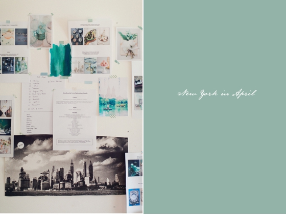Inspiration wall, moodboard, style shoot, peaches & mint