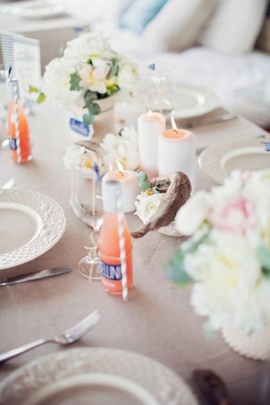 Nautical Seaside Wedding Inspiration tablesetting in blush tones