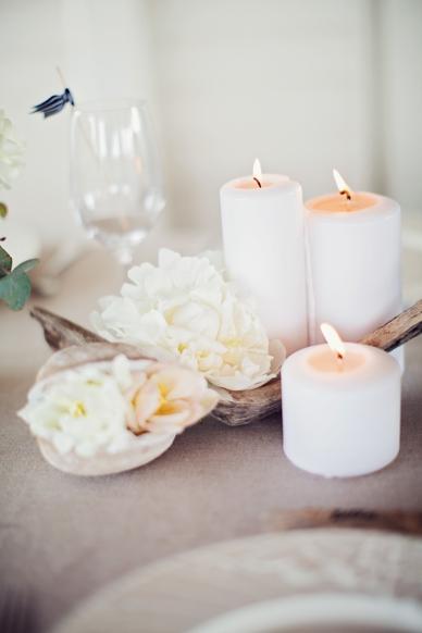Nautical Seaside Wedding Inspiration candles & flowers in blush tones driftwood