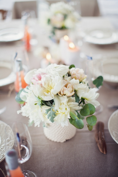 Nautical Seaside Wedding Inspiration tablesetting in blush tones peonie table setting