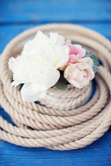 Nautical Seaside Wedding Inspiration peonies and ropes