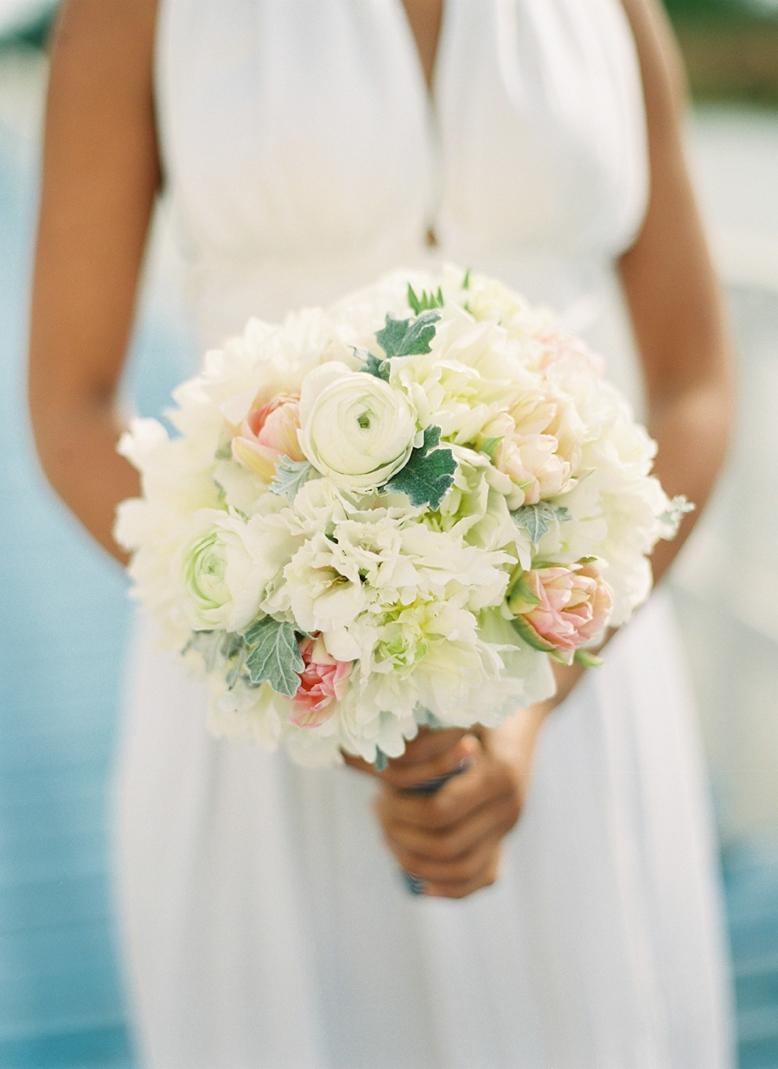 Blush and white wedding bouquet with peonies - nautical seaside wedding inspiration