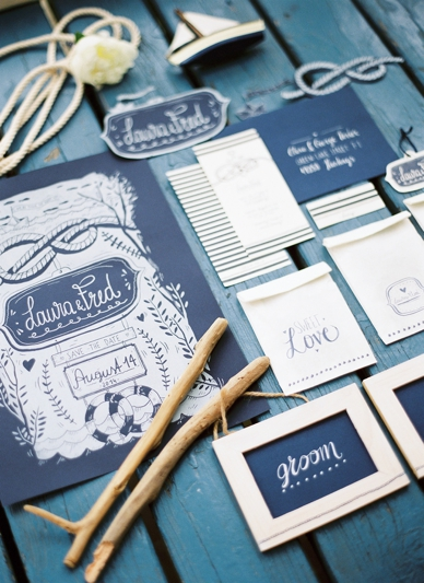Nautical Seaside Wedding Inspiration blue calligraphy wedding stationary set by Wald&Schwert photography peaches and mint