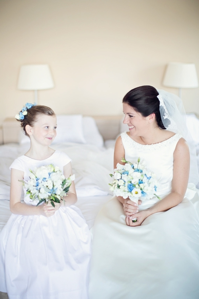 Bride & flowergirl getting ready wedding photography by peaches & mint