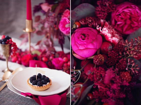 red and pink table setting
