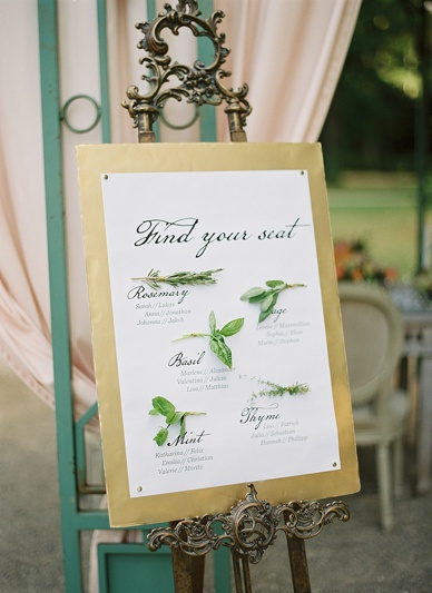 Gold and natural themed summer wedding seating chart