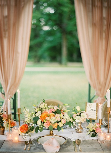 Lush summer wedding table scape
