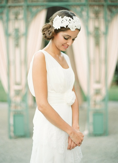 Beautiful white lace dress & matching headpiece