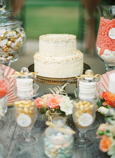 Gold rimmed wedding cake and candy table