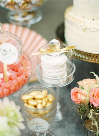 Gold and peach inspired candy table by mycandybar.at