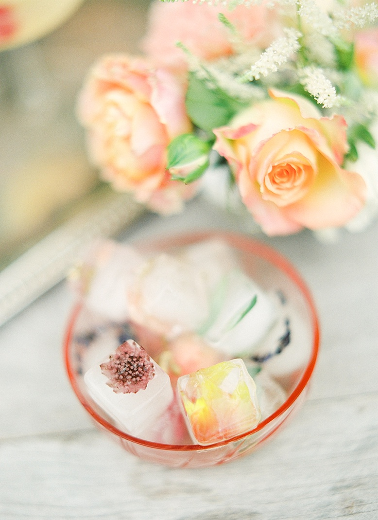 Frozen florals flower ice cubes inspiration for hot summer weddings