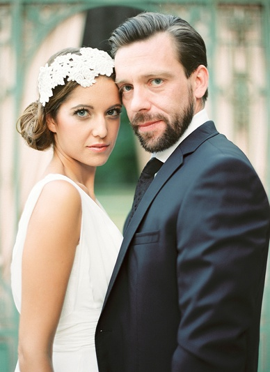 Bride and Groom Portraits with Niely Hoetsch bridal headpiece