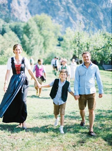 Tradional Austrian Trachten Outdoor Wedding