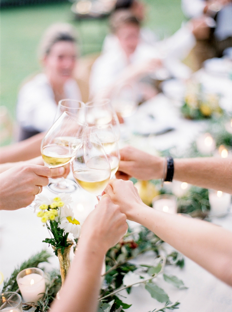 Good Wine, good food, good moods at a Summer Wedding photography by peachesandmint.com Contax645 Fuji400H