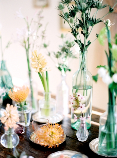 Mixed bottles with flowers & greens home decoration DIY