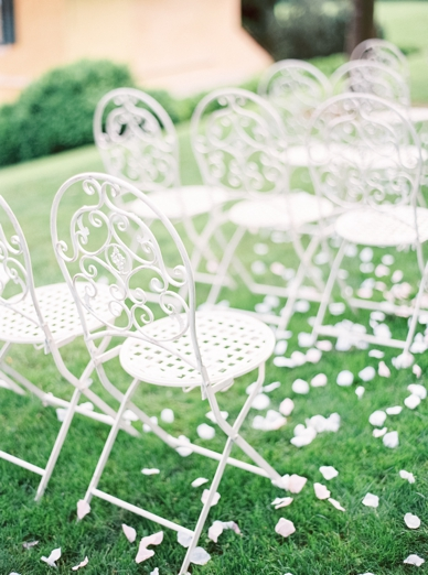 Stunning white wedding chairs at aiola im Schloss