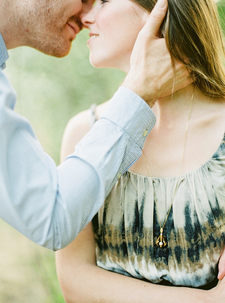...and then he kissed her. Engagement Session captured on medium format film by peachesandmint.com