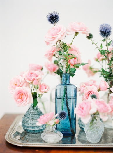 pink roses and blue thistles lovely vintage vases decoration
