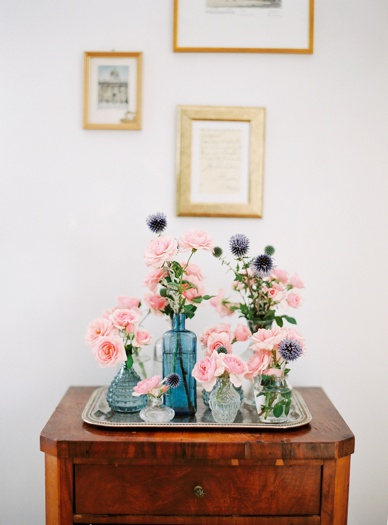 collection of vintage vases for home decoration with fresh flowers