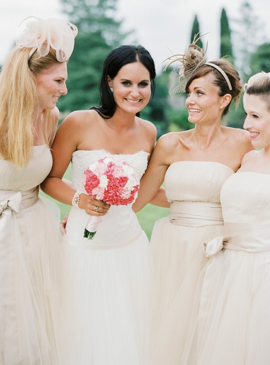 Stunning blush bridesmaids at italian destination wedding in the Villa Gallici Deciani