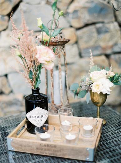DIY assorted vases and bottles - Hendricks Gin Bottles DYI wedding ideas