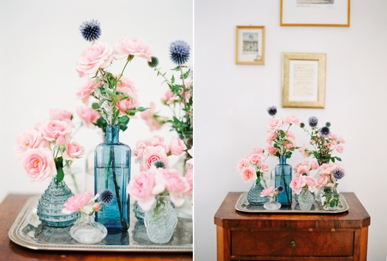 pink & blue flowers in mixed vases floral home decoration
