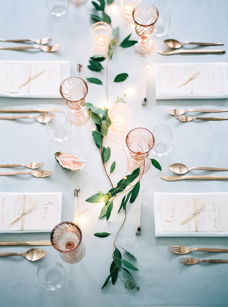 Copper peach and light blue wedding theme designed by Viktoria Antal of Lovely Weddings