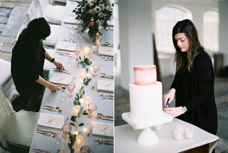 Viktoria Antal styling her magic behind the scenes of Urban Loft wedding inspiration