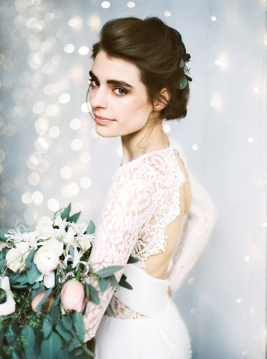 Lace back and long lace sleeves on Rime Arodaky wedding dress