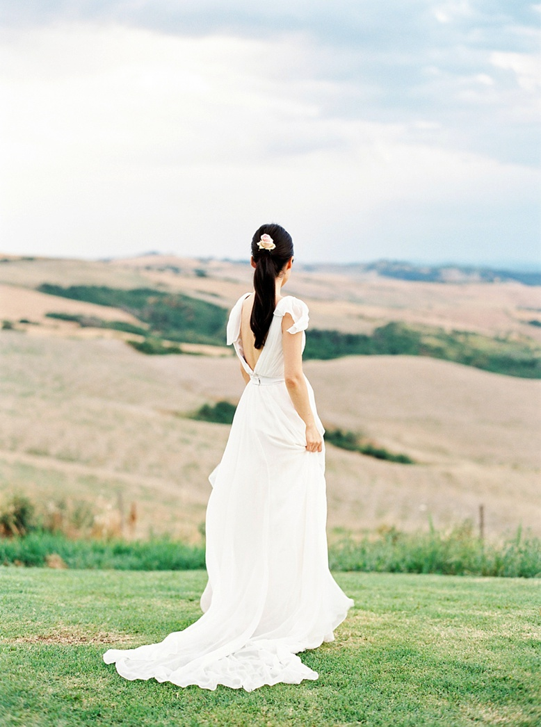 Beautiful Tuscan bride in Carol Hannah gown finest wedding photography Europe by film photographer Pia Clodi