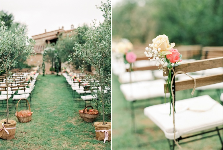 Olive grove wedding Tuscany outdoor ceremony setting beautifully prepared by The lazy Olive's own Daniela di Cesare