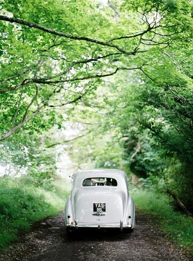Elegant vintage bridal car at Crom Castle wedding styled by Pearl & Godiva