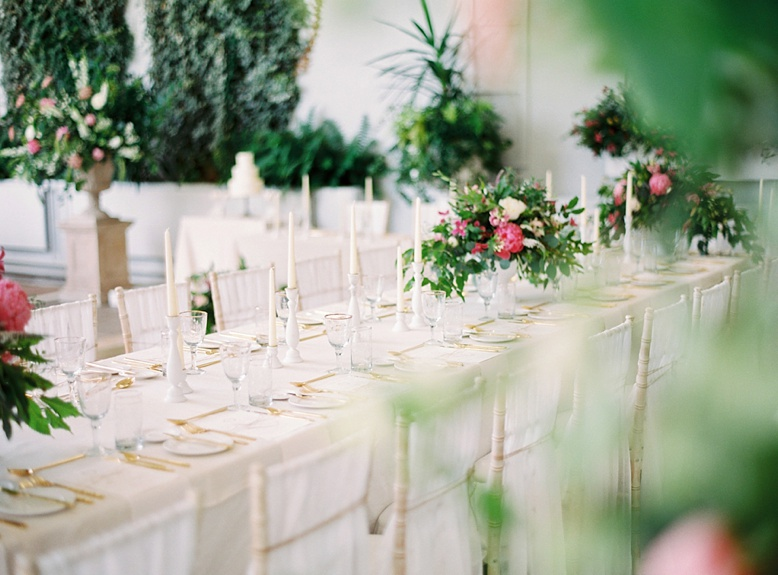 Long tables at timesless and elegant Crom Castle wedding Northern Ireland