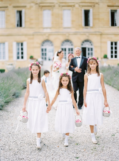 Most stunning flower girls & spectacular aisle walk at Chateau La Durantie wedding