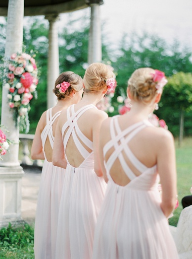 Matching backs of bridesmaid dresses