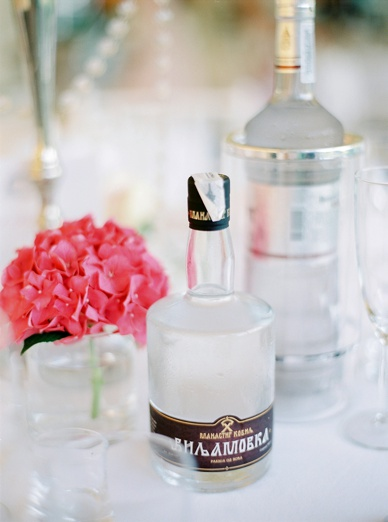 Vodka & Rakia on the tables at French Destination wedding