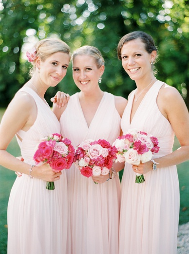 Gorgeous Bridesmaids in dresses from Mango and florals by frenchflowerstyle.co.uk