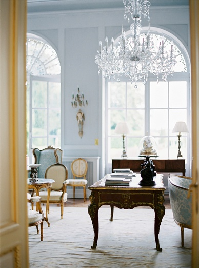 Elegant & relaxed chateau destination wedding France View of the downstairs living room at Chateau La Durantie