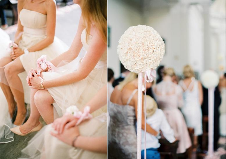 Bridesmaids floral wrist band & flower balls for italian destination wedding by Kunstgaertnerei Doll Salzburg