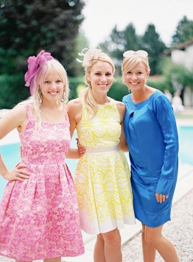 Colorful summer wedding guests at Italian destination wedding