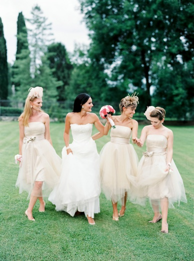 Fluffy bridesmaid dresses at destination wedding Italy