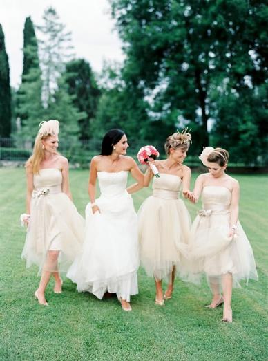 Fluffy bridesmaid dresses at destination wedding Italy