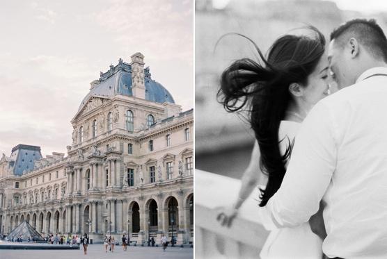 Romantic Paris destination wedding shot on film