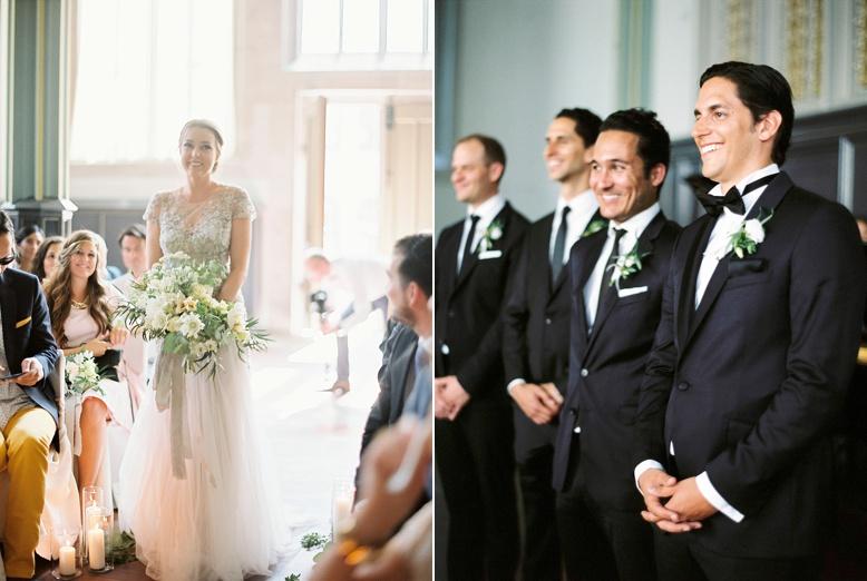 Here she comes beautiful swiss bride walking down the aisle in Inbal Dror dress