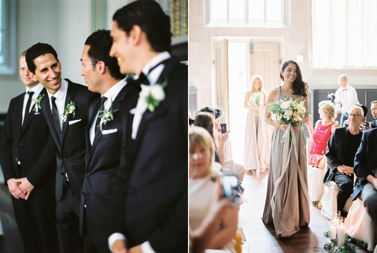 Bridal Party at ceremony in beautiful swiss Chapel downtown Zurich wedding