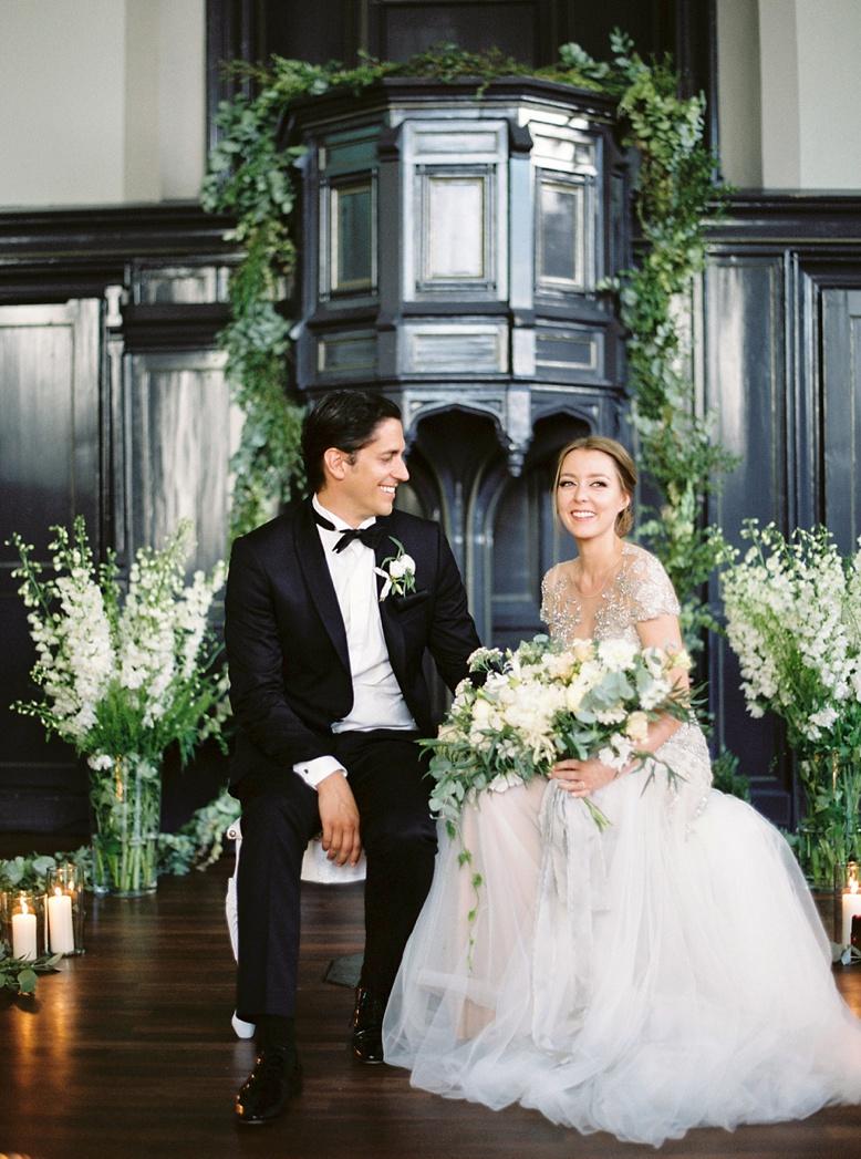 Elegant and floral Ceremony Setting at Swiss Destination Wedding chapel of the Kulturhaus Helferei Zurich