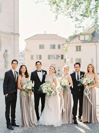 Elegant and timeless Zurich destination wedding bridal Party in gorgeous grey Twobirds Dresses and Flowerup Florals