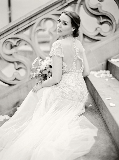 Beautiful bride in Inbal Dror wedding dress