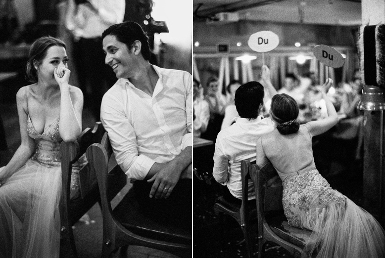 Bride and groom games at stunning & laid-back Zurich wedding