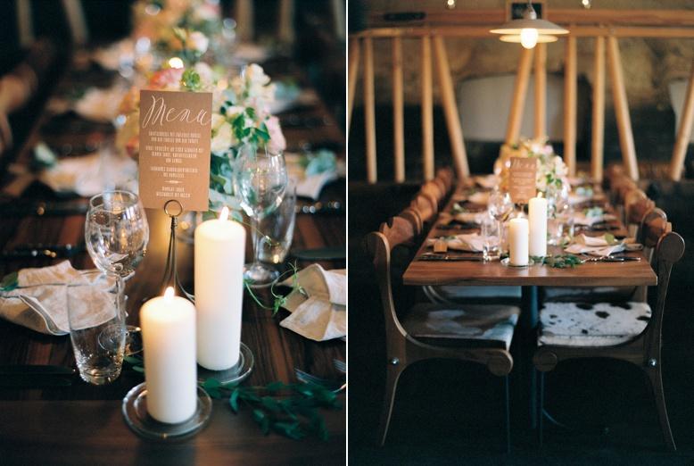 Adlisberg Zurich destination wedding table decoration and menu